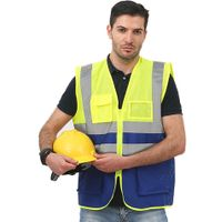 High Visibility Blue Green Yellow Custom Logo Mesh Jackets Multi Pockets Reflective Safety Vest for
