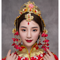 Chinese gold leaf flower bridal headdress