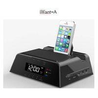 Bluetooth speaker with IPAD stand and clock alarm with snooze