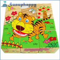 Top quality custom 9pcs wooden fruit shape colorful jigsaw puzzle for children