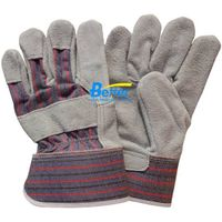 Natural Cow Split Leather Full Palm Rubberized Cuff Work Gloves BGCL206