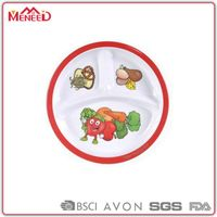 "BPA FREE 8.5"" compartment baby melamine dinner plates"