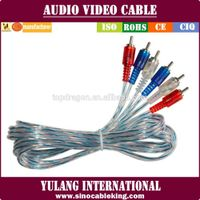 Transparent Silver&Blue 3RCA to 3RCA AV cable with molded plugs
