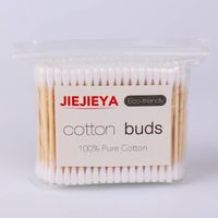 200p cosmetic sterile 100%pure cotton natural bamboo stick cotton buds cotton swabs Q-tips