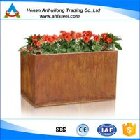 corten steel flower pot and planter for garden landscape