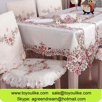 Toyoulike Jacquard Embroidery Table Cloth Handmade Cutwork Home Decorative Table Cover Chair Cushion thumbnail image