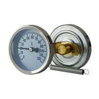 Dial pipe bimetal thermometer with spring