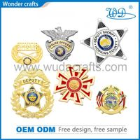 Hollow out die cast engravable zinc alloy imitation gold plated pins military sheriff hat badges