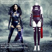 MANLUYUNXIAO X-Men Apocalypse Psylocke 2016 Cosplay Costume for women sexy adult leather jumpsuit cu