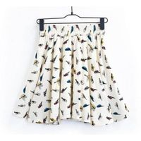 2013 factory direct white bird pattern elastic waistband skirt
