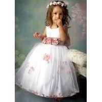 sleeveless white  A-line  tulle  handmade flower girl dress