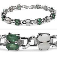 Sparkling 6.34CTW Genuine Opal & Emerald .925 Sterling Silver Bracelet