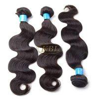 "KBL® Grade 6A Brazilian Body Wave Hair Extensions 3 Bundles 300G Virgin Remy Human Hair #1B (16"" 18"""