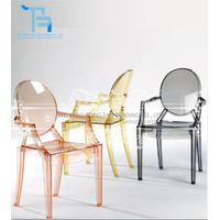 transparent resin plastic ghost chair with arm