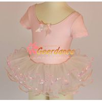 High quality! Short Sleeves Bow Front , Children Ballet Leotard Tutu 15S0014