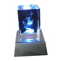 3d etched Christmas crystal craft