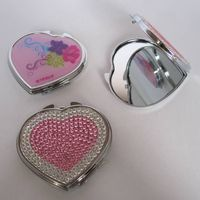 Heart shape cosmetic compact mirror with diamond on dome for girls thumbnail image