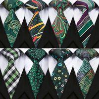 DiBanGu 15 Styles Green Ties For Men Match Pocket Square Cufflinks 8.5CM Silk Neck Tie For Men Weddi thumbnail image