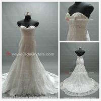 Mermaid Strapless Lace Chapel Train Party Wedding Dress Bridal Gown (C0316)