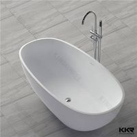 Man made stone freestanding pure white bathtub