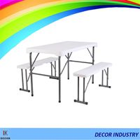HDPE folding table and steel frame outdoor table sets