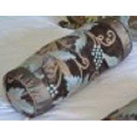 Crewel Pillow Grapevine Deep Olive Cotton Viscose Velvet Neck Roll (6x14)