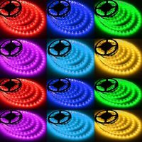 LED Strip Lights RGB 5m / 16.4ft 300 LEDs SMD 5050 10mm Flexible Cuttable Tape with DC 12V 5A Power thumbnail image