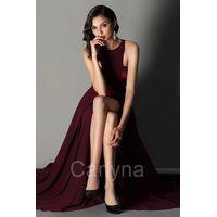 Carlyna Elegant Burgundy Halter Red Carpet Chiffon Dress