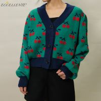2021ss Cherry Jacquard Cardigan for Vintage-Inspired Fashion New Women's Loose-Fitting Cardigan Top thumbnail image