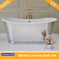 Cast Iron French Bateau Tub with Mirror Polished Exterior