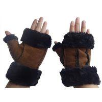 2014 fashion sheep skin double face leather fingerless gloves thumbnail image