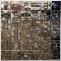 Gold metal medallion mosaic for wall and floor