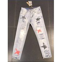 ladies' fashion sexy denim trousers with destroyed and print