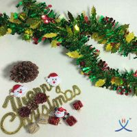Hexing Hot and New Christmas Berry and Leaf Tinsel Foil Garland Special Gift Party with Wavy strands thumbnail image