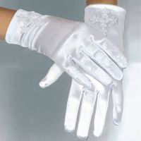 Short Tulle Cheap Kids White Satin Gloves