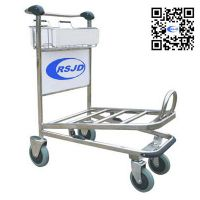 4 wheels stainless steel airport luggage trolley cart