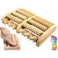 Stress Relief Wooden Dual Foot Massager Roller Relieve Plantar Fasciitis Acupressure/ Reflexology To