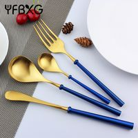 Restaurant flatware heavy handle stainless steel gold cutlery thumbnail image
