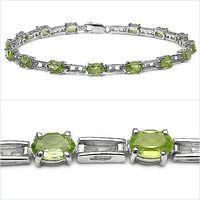 Charismatic 6.75CTW Genuine Peridot .925 Sterling Silver Bracelet