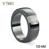 New Models Fashion Cz Inlaid Black Ceramic Diamond Ring