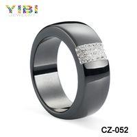 New Models Fashion Cz Inlaid Black Ceramic Diamond Ring
