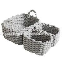 Handmade Cotton Rope Woven Storage Basket Laundry Basket Home Office Organizer