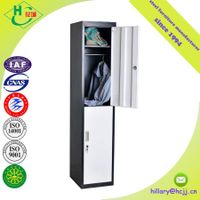 2 door Double Color Clothing Steel Locker/Wardrobe with Mirror