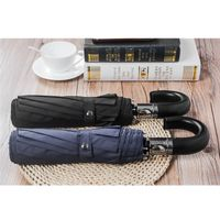 FJ 3-Fold auto 10Kpure colour simple umbrella, man umbrella,Jhande with leather