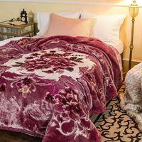 Flower Print Raschel Blanket 100% Polyester Warm Blanket