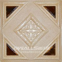 Square 3D faux leather carving wall panel with 4 crystal pieces 1053