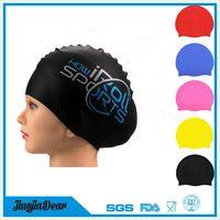 custom logo adult kid size silicone swim cap,professional silicone swimming cap manufacturer thumbnail image