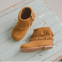 wholesale popular baby boots Tan baby moccasin booties