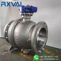 API 6D2piece Trunnion Mounted Casting Steel Flanged End Ball Valve With GearBOX thumbnail image
