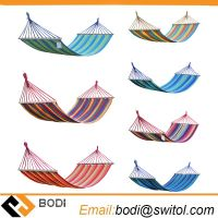 Outdoor Fabric Hammock Bed with Wooden Bars